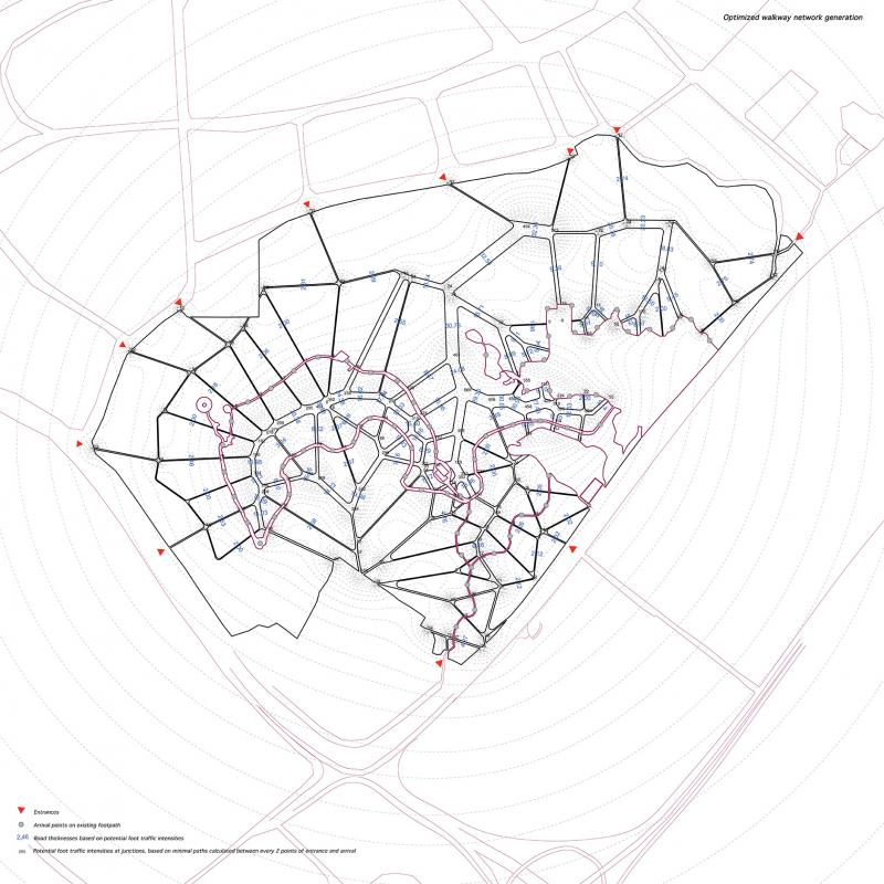 A network of roads connecting the 11 entrance points of the park and destinations on the existing footpath. The network aims to upgrade accessibility of the park, hence crating an urban park the city diffuses into. The accessibility aims to optimise trading conditions for the public level of the manufactory units; the artist residencies.